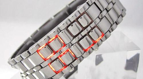 خرید ساعت سامورایی سفید ال ای دی قرمز